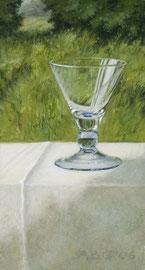 Blauw glaasje, voor landschap, o/a/p, ca. 10x20cm