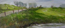 Reitdiepdijk met wegje en paaltjes, o/p, 34,8x15,3cm