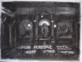 Parijs, Notre Dame des Victoires, alleen kaarslicht...  krijt, A3, 2006