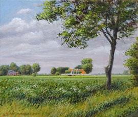 Aduarderzijl, zomers windje, a/p, 30x25cm