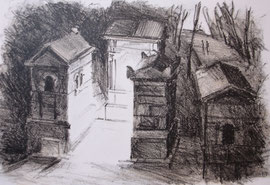 Cimetiëre Montmartre, lithografie, ca. 16x18cm