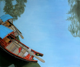 "Boats in Zhujiajiao, 20"" x 24"" / 朱家角的船  51 x 61cm,  2011"