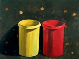 """Bins,  20""""x24"""" /  两只桶, 51x61cm, 2006"""