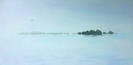 """Lost Island, 18""""x36"""" / 煙波浩淼 46x92cm 2014"""