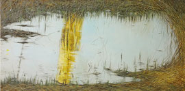 "Water Nest, 15""x 30""/ 水渦渦,38cm x 76cm, 2013"