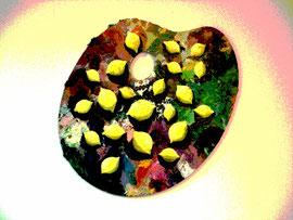"""Lemon Palette, 10""""x 12"""" / 调色板, 25 x30cm,  2009"""