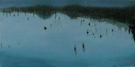 "Evening on the Lake 18"" x 36""/ 夜晚的西湖  46 x 92cm, 2011"