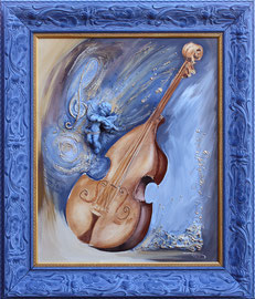 "46 x 55 - ""Ange bleu"" - 710€ sans cadre"