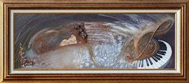 """""""Ange au piano"""" - Format sans cadre 35 x 100   Peinture acrylique et huile - inclusions et patines - 980€ - Possibilité de l'acquérir sans le cadre au prix de 900€"""