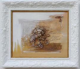 """""""Ange blanc"""" -  Format sans le cadre 38 x 46 - Prix encadré 630€"""