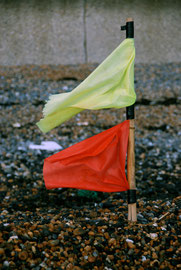 I put this washed-up crabpot flag into the shingle near the dying gull