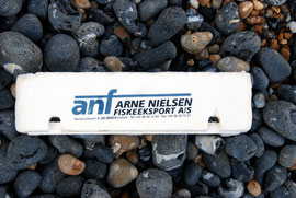 Part of a polystyrene fish packing case from Arne Nielsen in Hirsthals, Denmark,