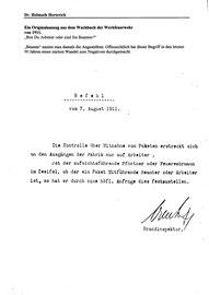 Original-Befehl für die Torkontrolle bei Bayer 1911