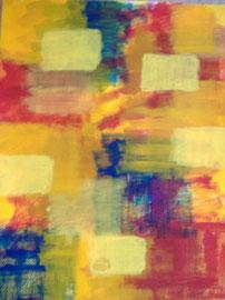 Gelbe Vierecke 1   50x65 Acryl auf Papier