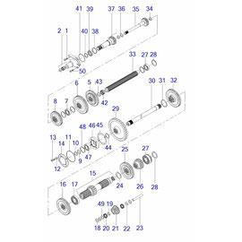 Engranes, ejes para transmisión 8 X 2,  y sus componentes.