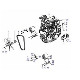 Motor Perkins 390 Turbo y sus componentes.