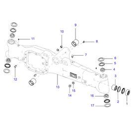 Carter para eje delantero FWD y sus componentes.