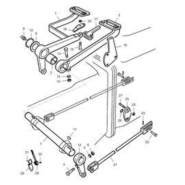 Pedales para frenos y sus componentes.