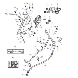 Caja de válvulas de carrete y sus componentes.