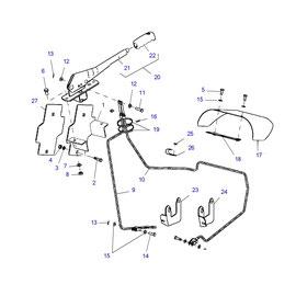 Palanca para freno de mano y sus componentes.
