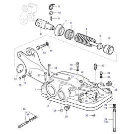 Tapa del hidráulico y sus componentes.