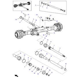 Eje delantero FWD y sus componentes.