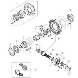 Diferencial para eje trasero y sus componentes.