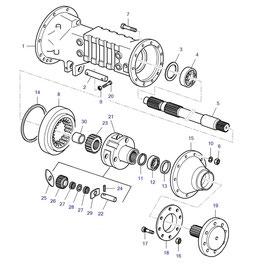Funda eje trasero y sus componentes.