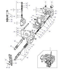 Bomba hidráulica de levante y sus componentes.