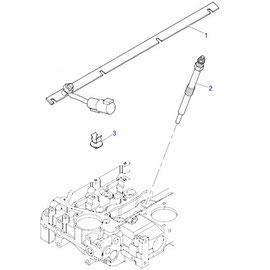 Barra de distribución para calentadores y sus componentes.