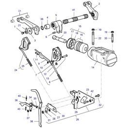 Cilindro hidráulico de levante y sus componentes.