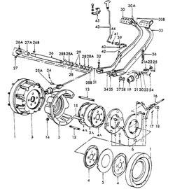 Pedal para frenos y sus componentes.