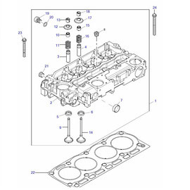 Cabeza para motor y sus componentes.
