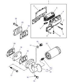 El enfriador de aceite para motor y sus componentes.