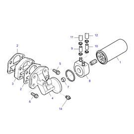 Enfriador de aceite para motor y sus componentes.