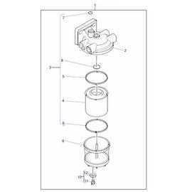 Filtro separador de agua y sus componentes.