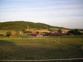Der Hof von den Pferdekoppeln aus
