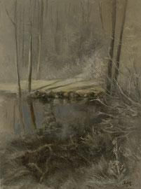 Wald Winter, Bach im Schnee Leinwand Grösse 90x60, Landschaft Bayerisches Wald im Winter