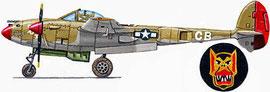 """P-38F del Capt. Jack """"Johnny"""" Walker (5 vittorie) del 97° FS, 82° FG  impiegato in nord Africa nel novembre 1942."""