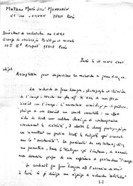 Dans mes archives personnelles, quelques extraits d'une lettre de Marie José Mondzain (CNRS - Paris), datée du 31 mars 2001.