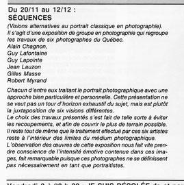 Bref compte rendu d'une exposition de photographes québécois en Belgique, organisée par le commissaire Guy Lafontaine.