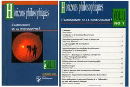 """Un numéro spécial de """" Horizons Philosophiques """", que j'ai eu le privilège de diriger."""