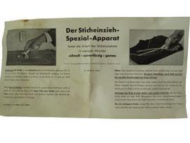 """Betriebsanleitung """"Der Sticheinzieh-Spezial-Apparat"""