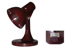 Tischlampe Elektro-Medizin Leipzig-Leutzsch, EMVT = Elektro-Medizin Vakuum-Technik Leipzig-Leutzsch, PGH, DDR-Produkt - Höhe 30 cm, Durchmesser Schirm 14.5 cm, Durchmesser Fuss 17 cm
