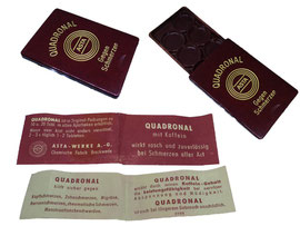 """Pillendose """"Quadronal"""", Asta-Werke A.G., Chemische Fabrik Brackwede - Breite 3.5 cm, Länge 5.2 cm, Höhe 0.6 cm"""