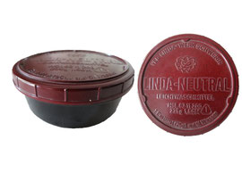 Linda NEUTRAL Leichtwaschmittel, VEB (K) Linda-Werk Schwerin, 235 g - Höhe 4 cm, Durchmesser 8.5 cm