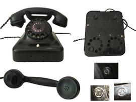 Tischtelefon, Siemens & Halske, Modell 38 (Hörer ev. 36) mit Erdung, Fg.tist.242, Logos an der Höhrmuschel, mit TAE-Stecker umgerüstet