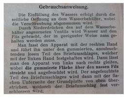 Couvert-Befeuchter, Anleitung der OVP