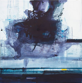 Unerhörtes Blau, 2014, Acryl und Tusche auf Leinwand, 100 x 100 cm