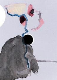 2012, Übermalung auf Papier, 15 x 10 cm